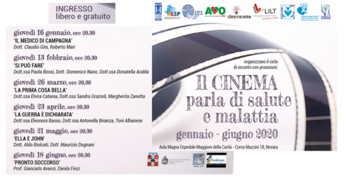 """Progetto """"Il cinema parla di salute - malattia"""": l'iniziativa ha lo scopo di sensibilizzare la cittadinanza sui problemi della salute attraverso l'utilizzo del cinema"""
