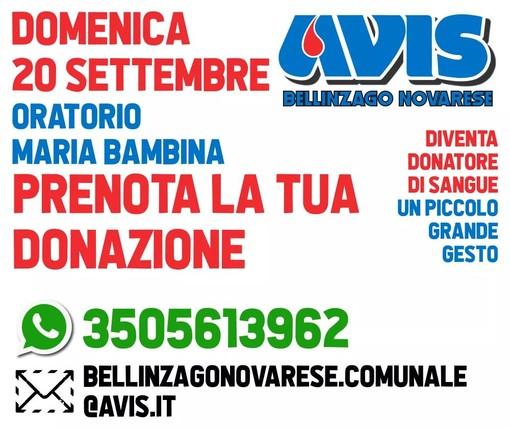 Domenica mattina all'Oratorio Maria Bambina di Bellinzago sarà presente l'emoteca dell'Avis