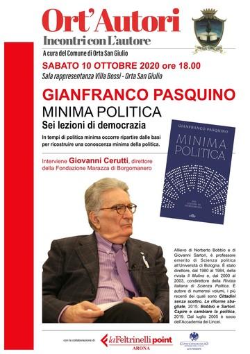 Per 'Ort'Autori'  a Orta San Giulio sabato  Gianfranco Pasquino presenterà 'Minima politica. sei lezioni di democrazia'